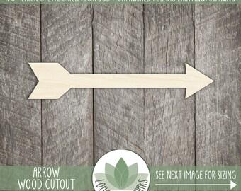 Wood Arrow Shape, Unfinished Wood Arrow Laser Cut Shape, DIY Craft Supply, Many Size Options, Blank Wood Shapes