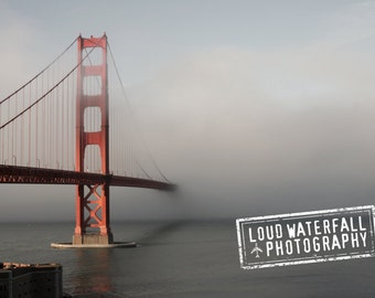 Golden Gate Bridge in Fog, San Francisco, Pacific Ocean, 24x36 Canvas Gallery Wrapped Travel Fine Art Photograph