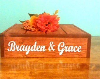 Personalized Wedding Cake Stand, vinyl message, Reclaimed wood, Rustic wedding