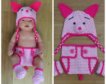 Crochet Piglet Costume, Crochet Piglet Set, Diaper Cover Set, Newborn Photography Prop, Photo Prop, Baby Pig Costume, Pig Hat
