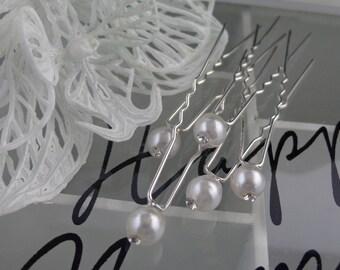 lot 5 hair pins wedding vintage white rhinestone beads