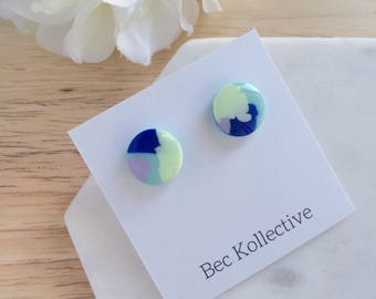 12mm | Pastel and blue studs