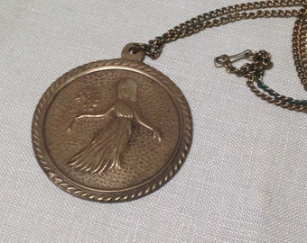 Vintage Brass Medallion Pendant Necklace Girl With Branch