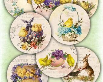 75% OFF SALE Vintage Easter Cards - Digital card collage sheet printable download digital easter vintage digital image atc card spring card