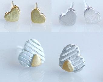 SALE! Tiny Heart Studs Matte Sterling Silver or Gold Vermeil Earrings-Dainty Silver Heart Studs-Vermeil Gold Heart Studs-Gift for Her
