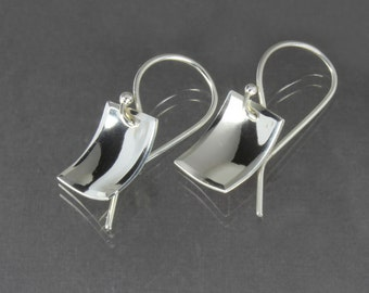 Rectangle Dangle Earrings - Sterling Silver Scoops