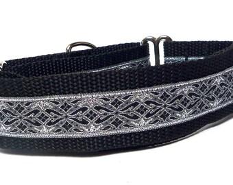 Martingale collar, OLD ENGLISH, dog collar, black and silver metallic, Greyhound Collar, Sighthound Collar, Adjustable, training collar