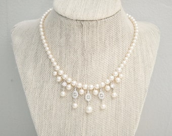 Bridal Charm Necklace, Bridal Necklace, Pearl Cluster Necklace, Charm Necklace, Wedding Jewelry