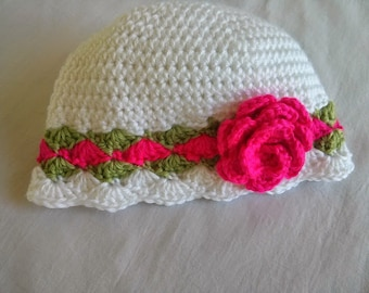 Crocheted Hat with Flower for Child