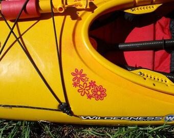 Retro Flower Grouping, MEDIUM or LARGE, Kayak Decal