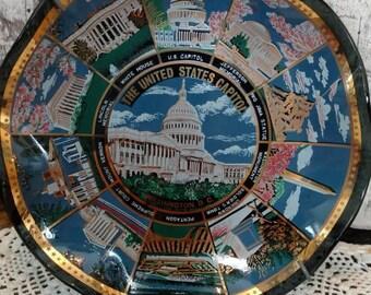 United States Capitol Building Platter Black China Gold trim dish Washington DC display Souvenir Decorative Dish historical Wall hanging