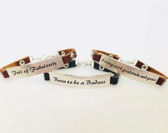 "Inspirational Bracelet Leather Bangle ""Born to be a Badass"""