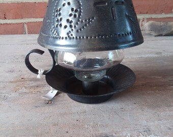 Vintage Punched Tin Candle Holder w/Glass Insert