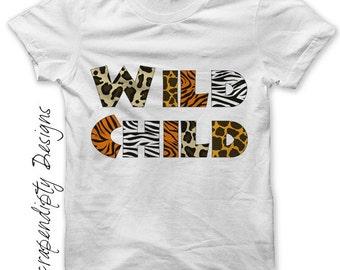 Wild Child Iron on Transfer - Zoo Iron on Shirt PDF / Kids Girls Clothing Tops / Womens Tshirt / Toddler Zoo Shirt / Zebra Giraffe IT197
