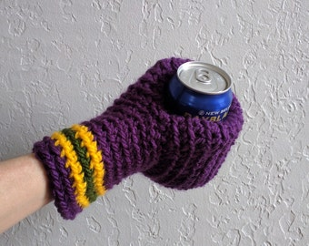 Beer Mitten / Mardi Gras / Beer Glove / Beer Gift / Drinking Glove / Tailgating / Ice Fishing / School Colors / Team Colors Mitten