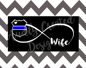 LEO Support Infinity Decal-Love My Officer-Cop Decal-Law Enforcement Decal-Law Enforcement Sticker-Cop Sticker-LEO Support-LEO decal