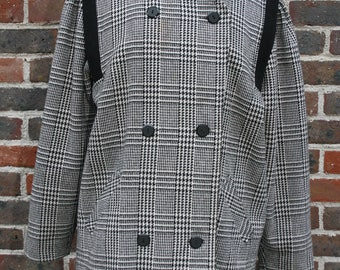 Womens coat double breasted black white dogtooth check 16 18 wool blend