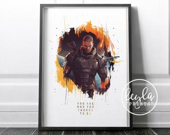 Mass Effect Print - Commander Shepard | A6/A5/A4/A3 Illustration Print | Mass Effect Poster | For Him, For Her | Mass Effect Andromeda