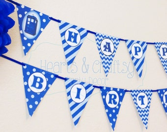Doctor Who Party Birthday Banner / Doctor Who Birthday / TARDIS - FILE to PRINT diy