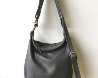Slouchy Sanko Bag- Grey Leather Bag- Grey Crossbody Bag- Grey Leather Bucket Bag