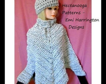 crochet pattern, poncho with sleeves, cape with sleeves, teens and women's clothing, hat and poncho, #2069