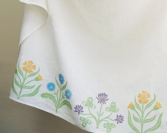 Cottage Garden Cafe Curtain hand printed in pastels 57 x 27 inch spring home decor gardening art one panel