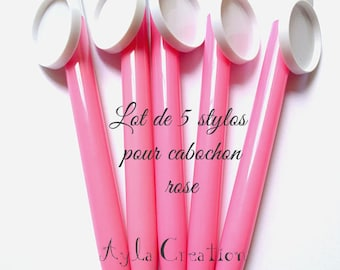 LOT 5 pen for CABOCHON 25 mm color pink OUT 0251 B'