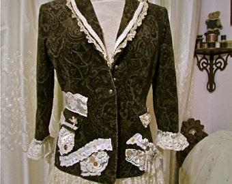 Brown Boho Blazer, corduroy jacket with romantic lace embellishments, womens altered eco fashion clothing, MEDIUM