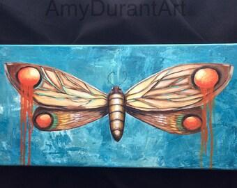 "Moth 10"" x 20"" original painting"