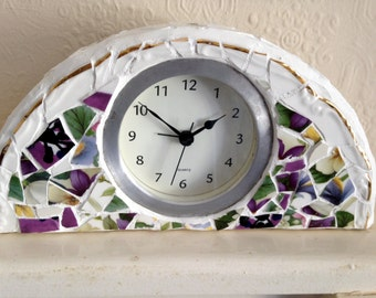 Mosaic Broken China Mantel / Desk Clock in Floral Design with Gold Border