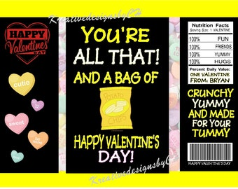 PRINTED Valentine Chip Bags Yellow