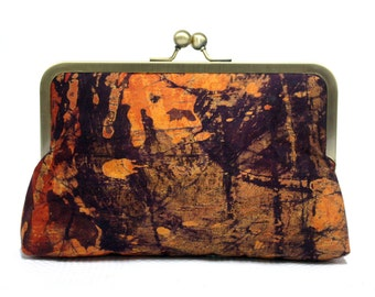 Clutch bag, Frame clutch, Orange and purple clutch, Batik bag, Kiss lock purse, Orange Burst Batik Mini Snap Clutch, Tie dye clutch handbag