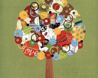 Full Circle Tree - Hidden Treasures - 8x10 Collage Reproduction Print- Green, Red, Yellow