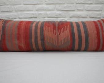 """burgundy pillow gray pillow indoor pillow boho sham rustic 16""""x48'' large couch pillows 40x120 lumbar pillows cover throw  kilim pillows 408"""