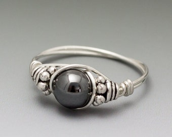 Hematite Bali Sterling Silver Wire Wrapped Gemstone Bead Ring - Made to Order, Ships Fast!