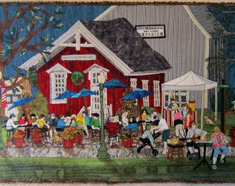 The Coffee Shop - Art Quilt - Wallhanging - Fiber Art - Art - Coffeehouse - Coffee - Quilt -Textile - Quilt