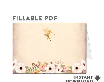 Editable Fillable PDF - Folded Place Card Printable Floral Fairy Baby Shower Decorations Printable (INSTANT DOWNLOAD) No.986BABY