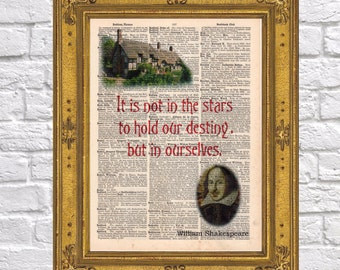 William Shakespeare quote Destiny antique book page 1903 Dictionary art print Upcycled wall decor