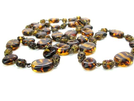 Vintage Tiger Stripe Tortoiseshell Czech Glass Beaded Necklace