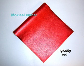 red metallic leather -red leather