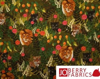 Wild Animal Fabric, Rousseau Jungle by  Maria Kalinowski for Kanvas with Benartex, Quilt or Craft Fabric, Fabric by the Yard