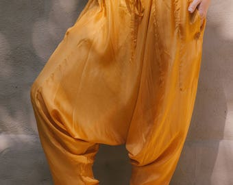 Dhoti Trousers Gold Hareem pants gypsy style summer wardrobe boho style yoga pants relaxed fit one size silk trousers boho life