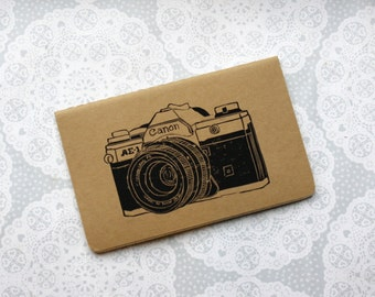 Vintage camera note book | canon | small notepad | Retro | Moleskine | Cahier Journal | Lined pages | Lino print | Handmade | Pocket size |