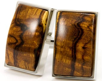 Wood Cufflinks, Fathers Day Gift For Him, Wedding Cufflinks, Groomsmen Gift, Ironwood OOAK Wooden Gift Men, 5th Anniversary Gift For Husband