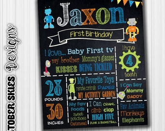 Robot Birthday Chalkboard, Any Age, Sign, Chalkboard, Printable, Chalkboard Poster, Birthday Sign