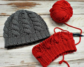Instant Download Knitting Pattern - Knit Hat Knitting Pattern - Knit Hat Pattern for Edison Cable Beanie Womens Hat