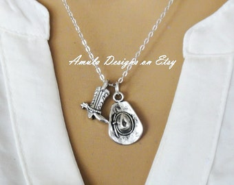 Cowboy Boot and Hat Necklace