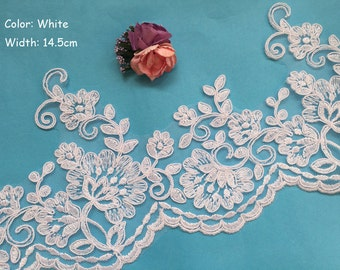 SALES-White Lace Trim, White Alencon Lace, White Corded Lace Trim, White Bridal Lace Trim, Sell By Yard (AL126)