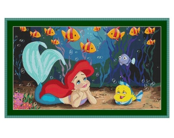The Little Mermaid Cross Stitch Pattern, PDF counted cross stitch pattern,Walt Disney