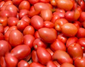 Photo Print - Plum Tomatos, Red Tomatos, Farmers Market, Food Photos